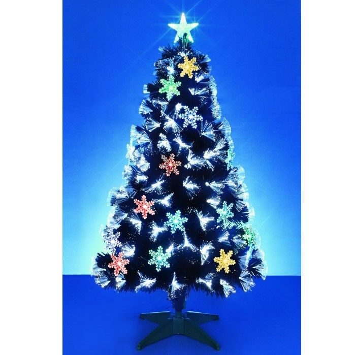 Black Fibre Optic with White LED Lights/snowflakes 180cm (6ft Approx) SAVE  £20!!! #Christmas Tree #LED #Lights - Black Fibre Optic With White LED Lights/snowflakes 180cm (6ft Approx