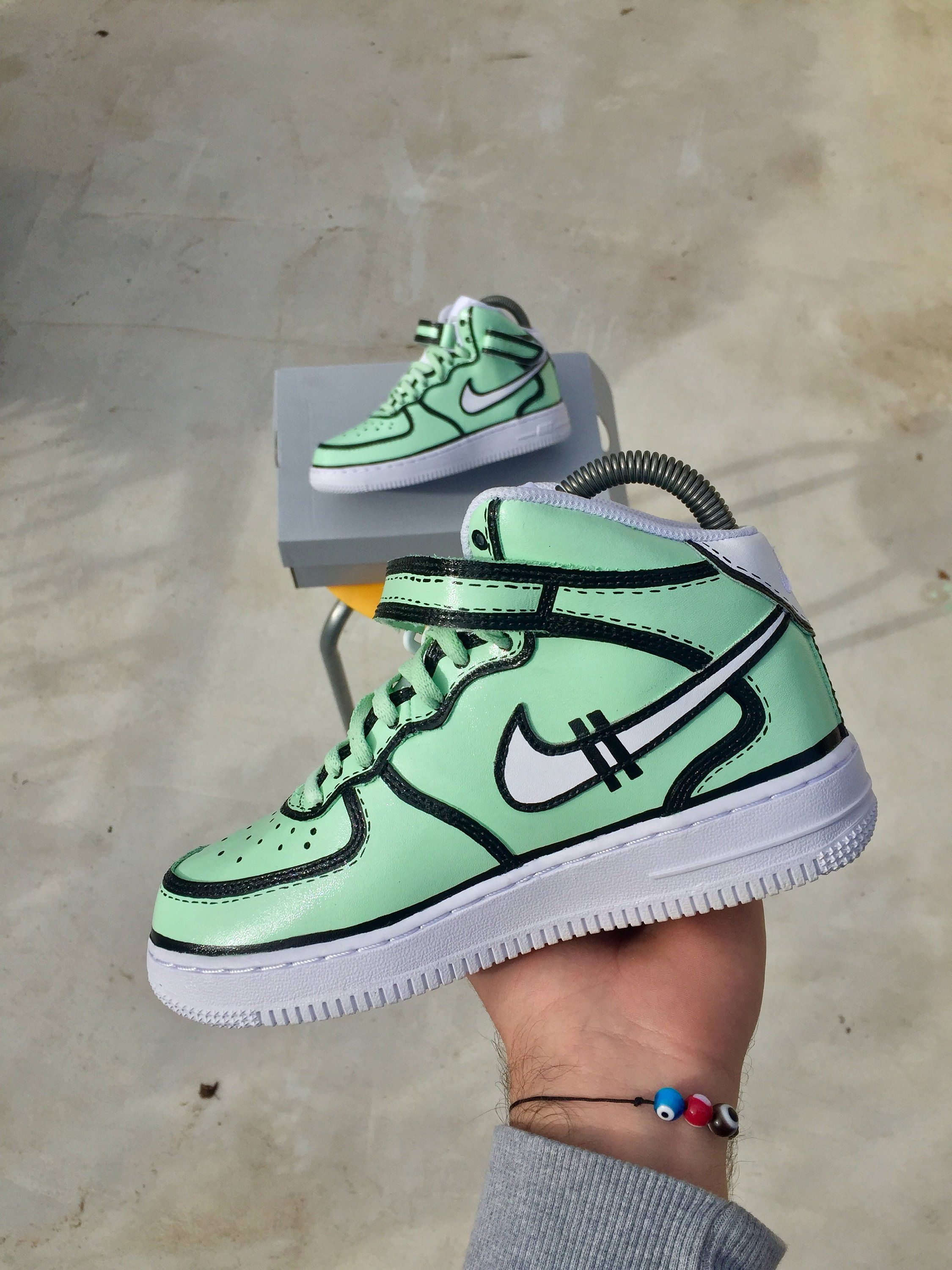 promo code 511bf c98d5 Custom Nike - Nike Nike Air Force 1 Mint x Black Lines - Custom Shoes - Hand  painted - Personalized Custom Kicks - Design your own now!