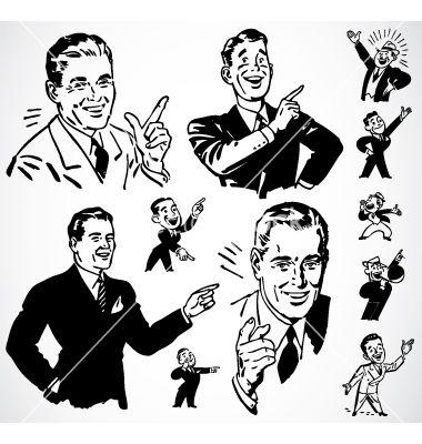 Retro Men Pointing Vector Image On Vectorstock Retro Illustration Vintage Graphic Design Vintage Illustration Art