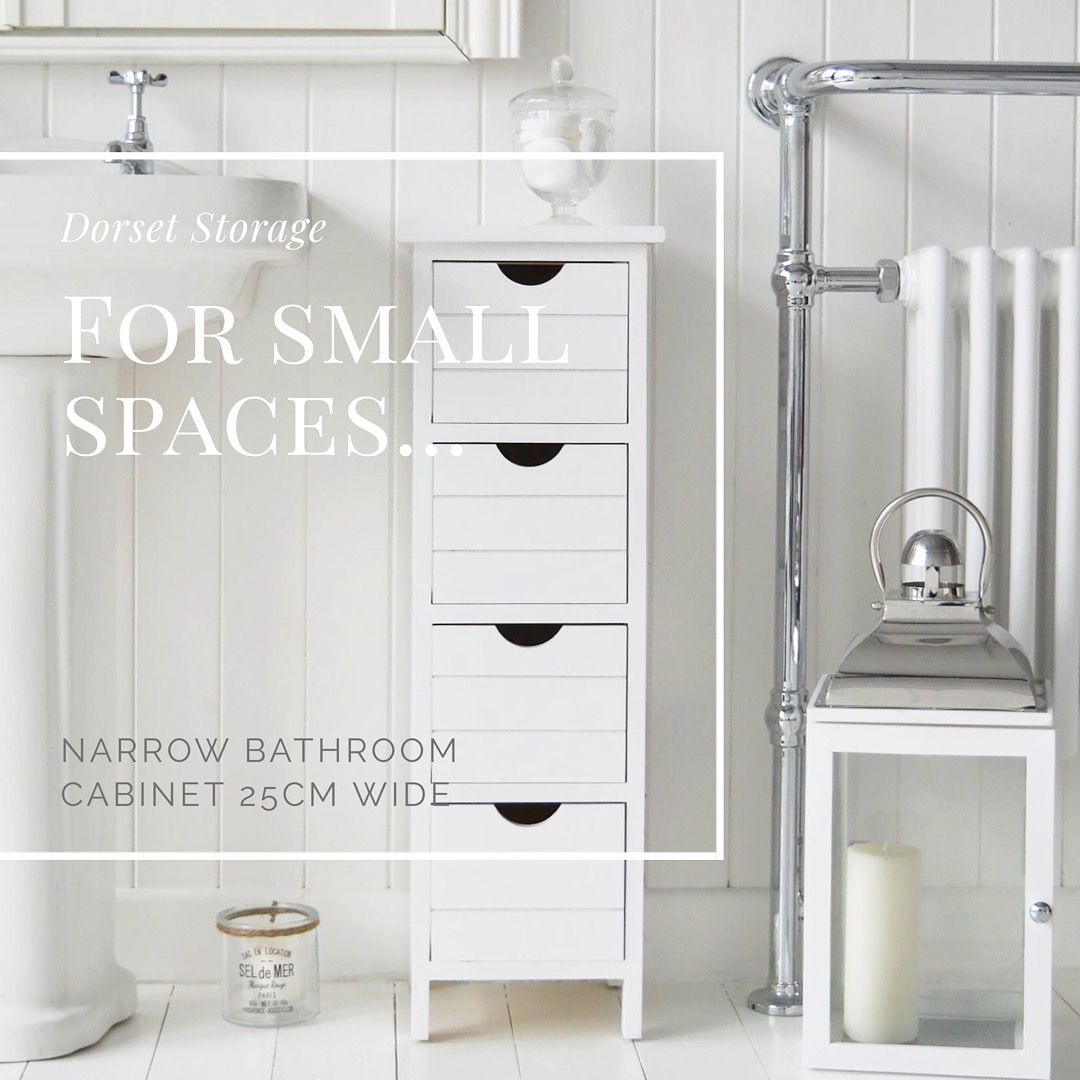 Dorset Narrow Bathroom Storage Only 25cm Wide For The Smaller Of Spaces Available From The White L Bathroom Furniture White Bathroom Furniture Narrow Bathroom