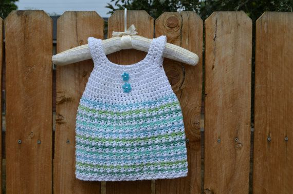 Crochet Baby Girl Dress Cotton Baby and by FuzzyStitchesCrochet