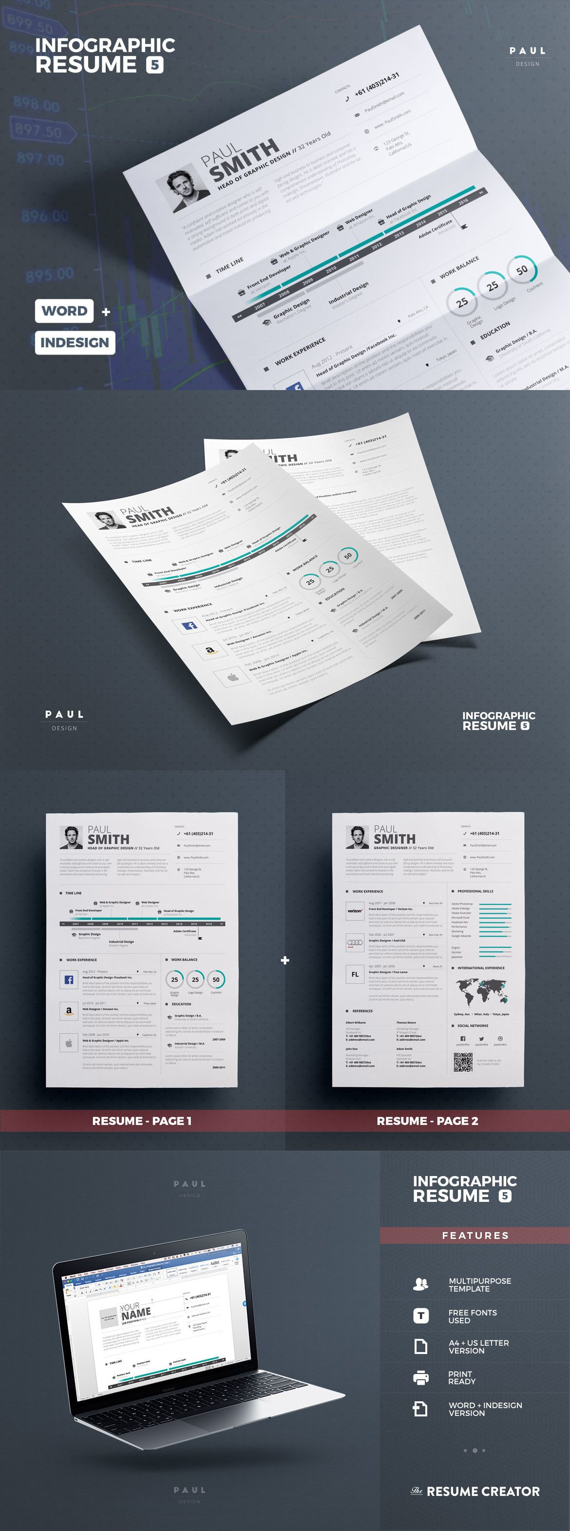 infographic resume    cv template indd  ms word