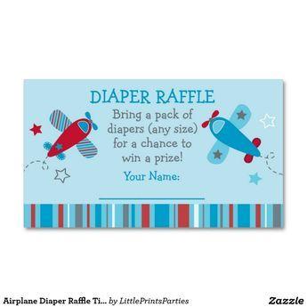 Airplane Diaper Raffle Tickets Business Card