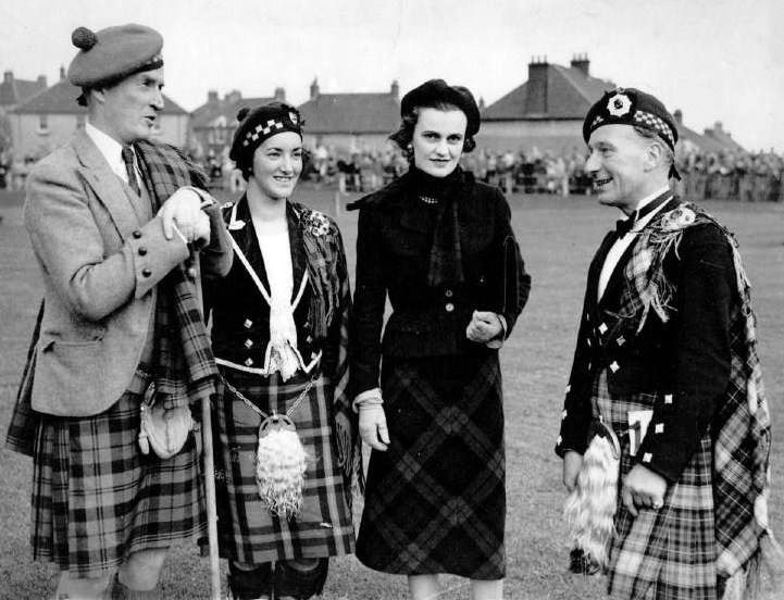 J.L. McKenzie is pictured on the right hand side meeting the Duke and Duchess of Argyll with Catriona Buchanan at Cowal Highland Gathering in 1951 when he won the World Adult Championship.