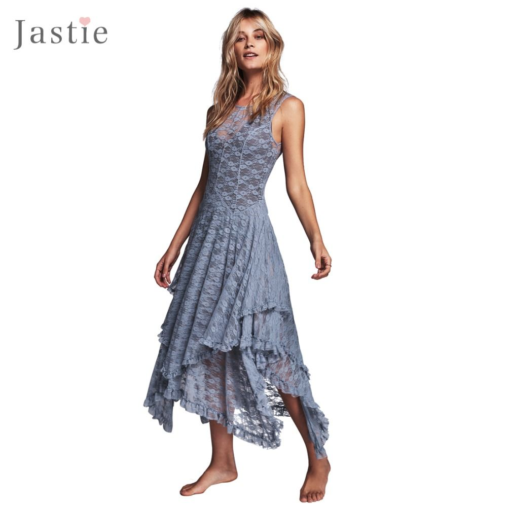 Boho People hippie Style Asymmetrical embroidery Sheer lace dresses double layered ruffled trimming low V-back (No lining) $35.99 => Save up to 60% and Free Shipping => Order Now! #fashion #woman #shop #diy www.greatdress.ne...