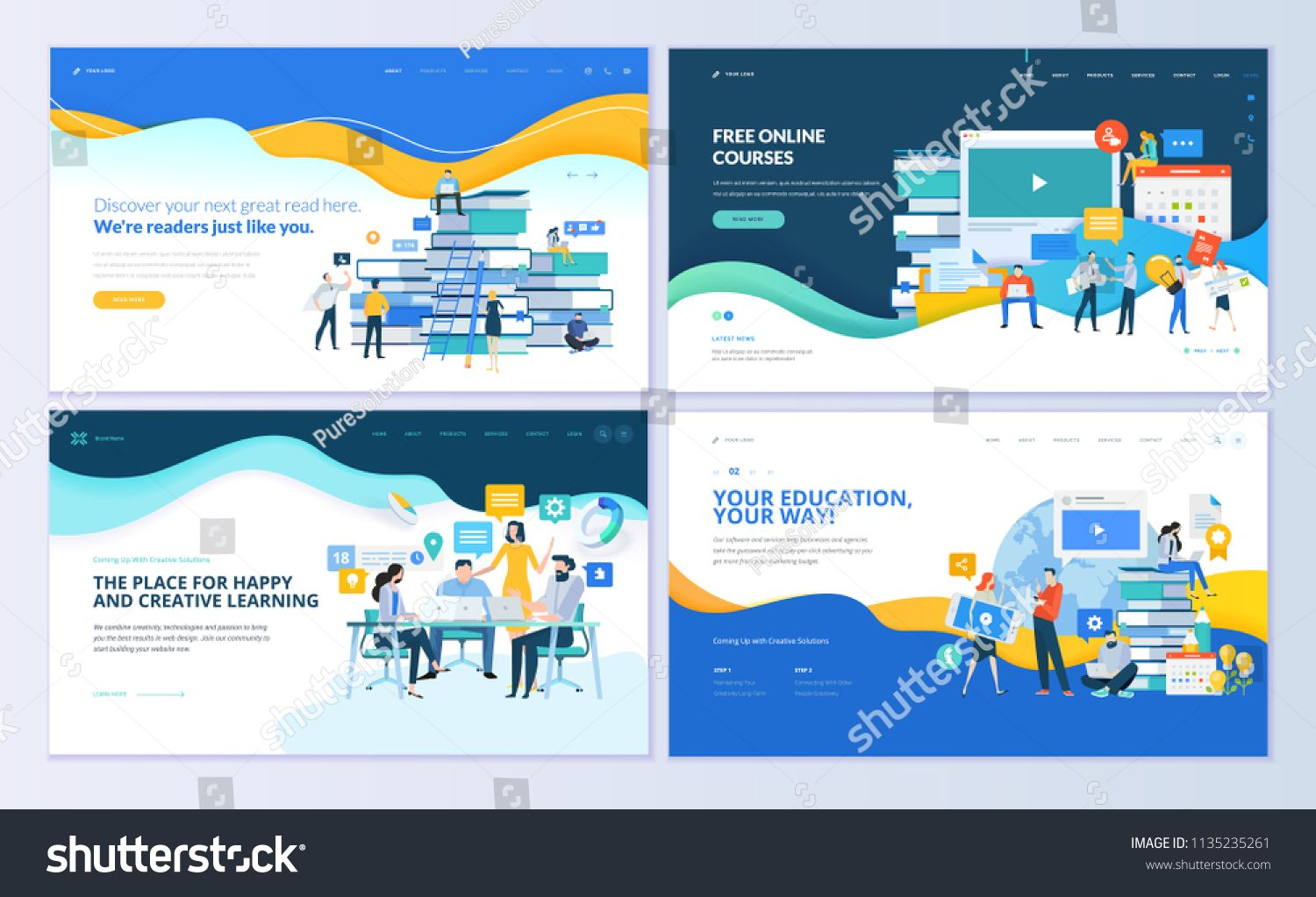 Set Of Web Page Design Templates For Distance Education Online Courses E Learning Tutorials Modern Vector I In 2020 Web Template Design Template Design Page Design
