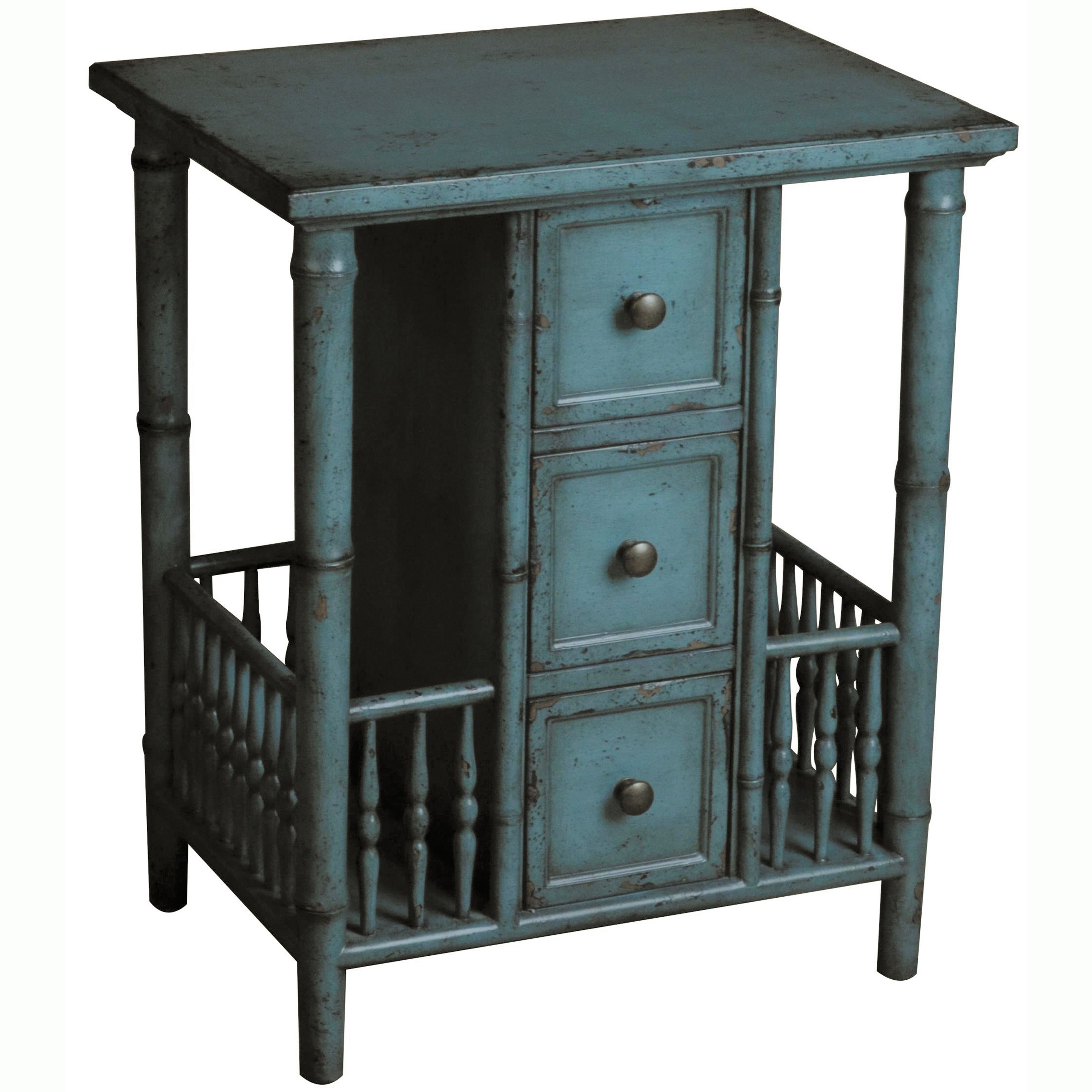 Give your home a rustic feel with this blue hand-painted table. This accent table features three functional drawers and distinctive open-railed sides for additional storage. Constructed from hardwood, this piece is durable as well as stylish.