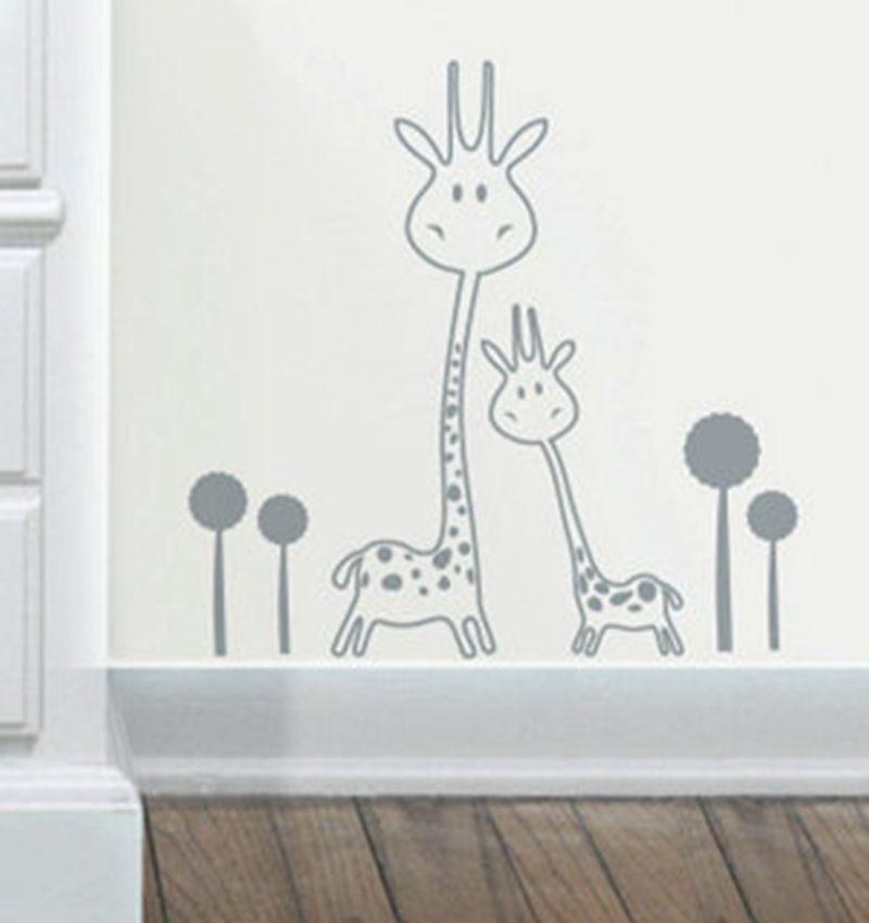 Vinyl Wall Decal Removable Giraffe Wall Sticker Baby Nursery Animals Two  Cute Giraffes Wall Sticker Art