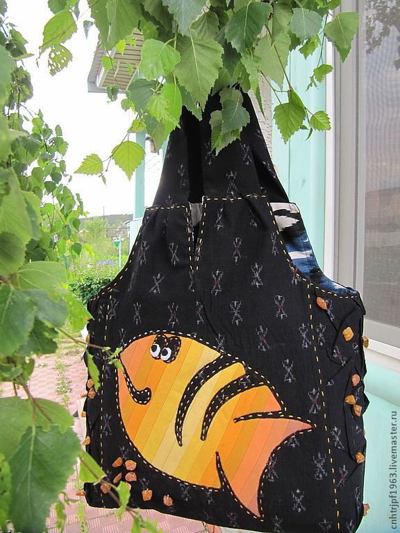 Купить Сумка-торба Рыба Солнце - рисунок, сумка-торба, синий, сумка с аппликацией