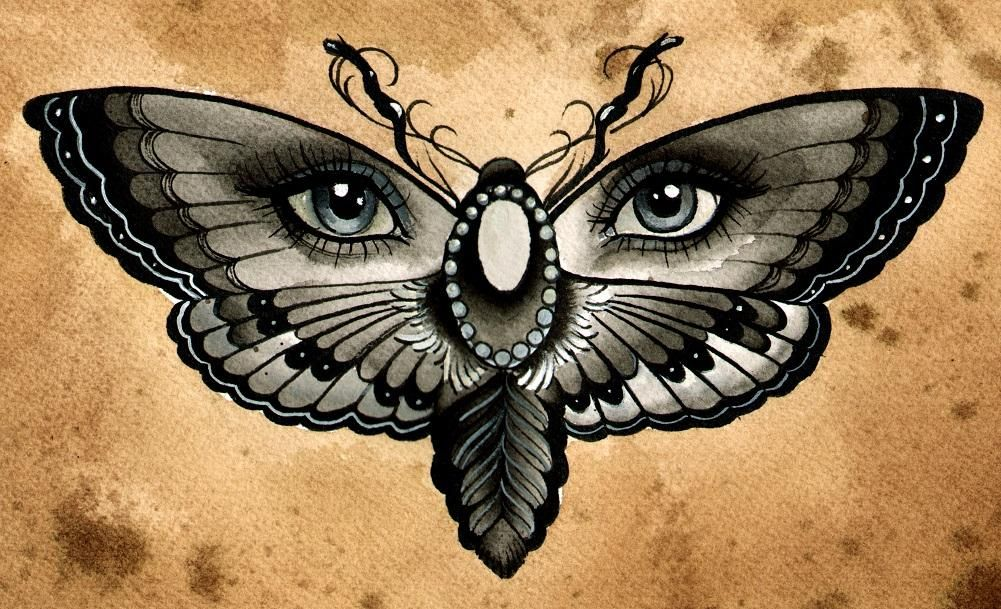 Butterfly Eye By Thea Fear Moth Girl Tattoo Canvas Fine Art Print Butterfly Eyes Japanese Flower Tattoo Eye Tattoo
