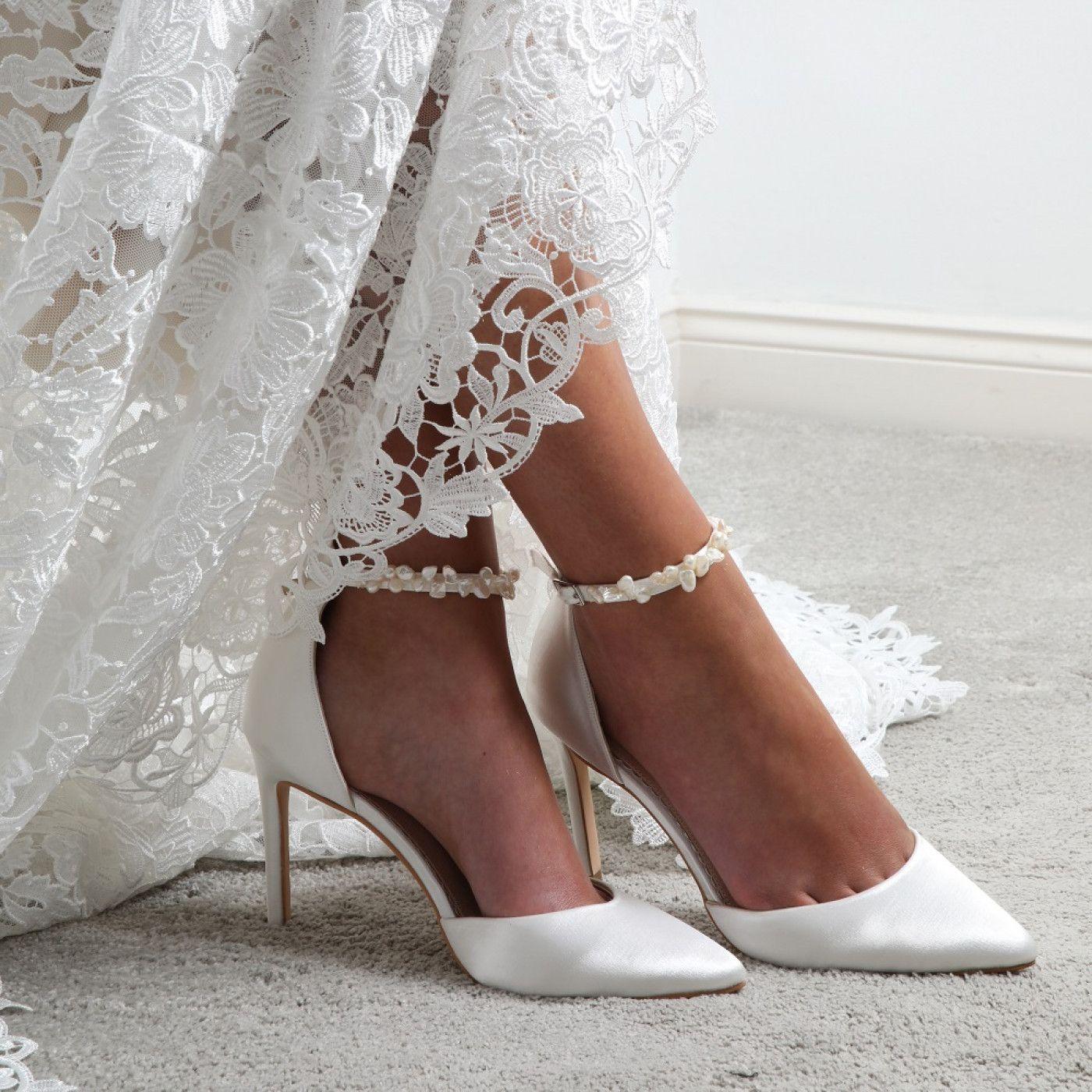 Perfect Bridal Ella Ivory Satin Keshi Pearl Ankle Strap Court Shoes Satin Wedding Shoes Wedding Shoes Heels Wedding Dress Shoes