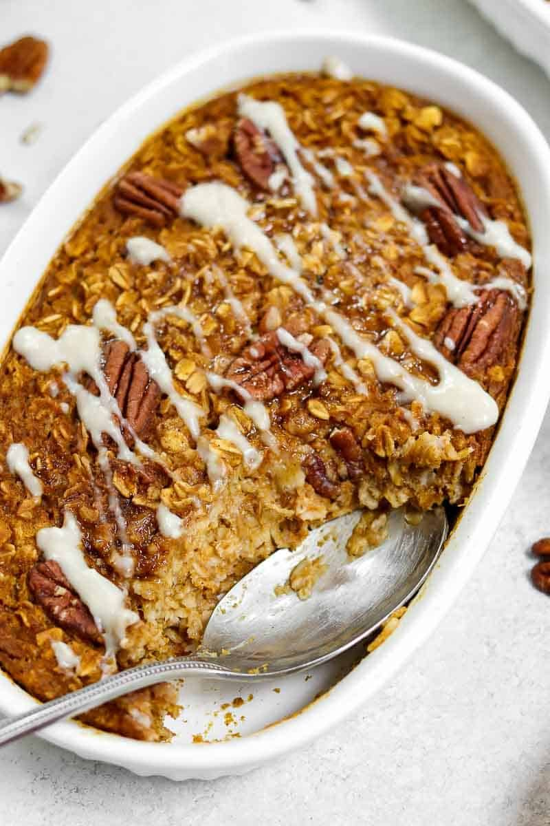 Easy Baked Pumpkin Oatmeal Eat With Clarity Breakfast Recipes Recipe In 2020 Baked Pumpkin Oatmeal Recipe Using Pumpkin Canned Pumpkin Recipes