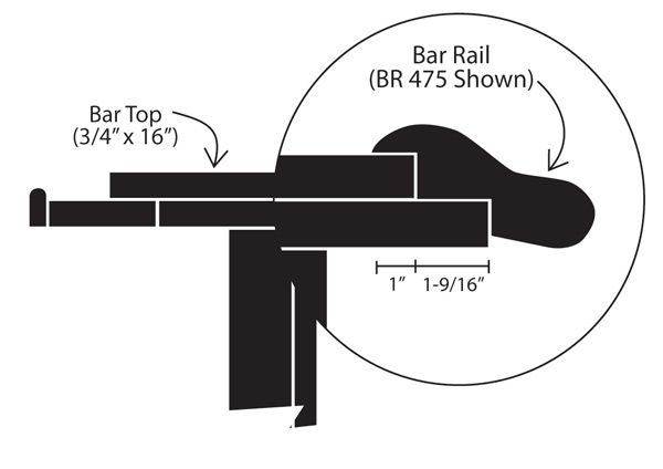 Standard bar dimensions building specifications for How to build a commercial bar top