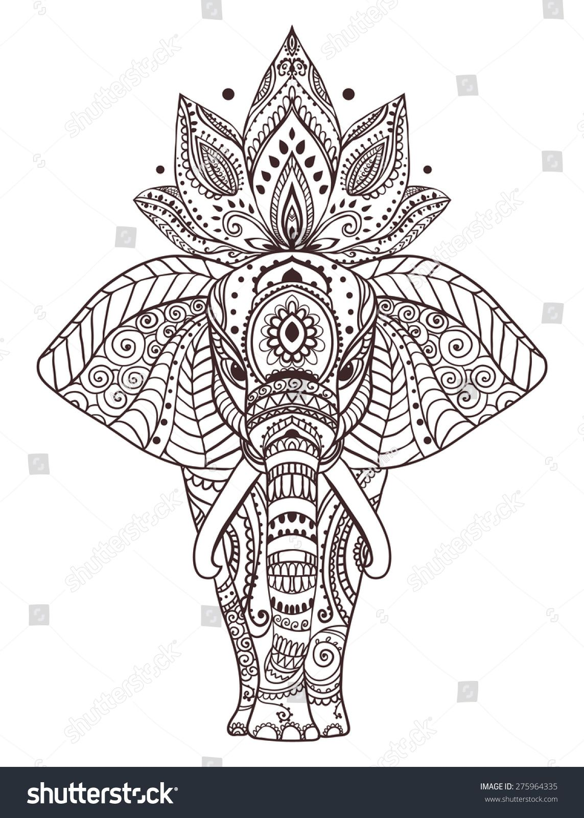 Greeting beautiful card with elephant frame of peacock made in vector perfect cards or for - Dessin elephant ...