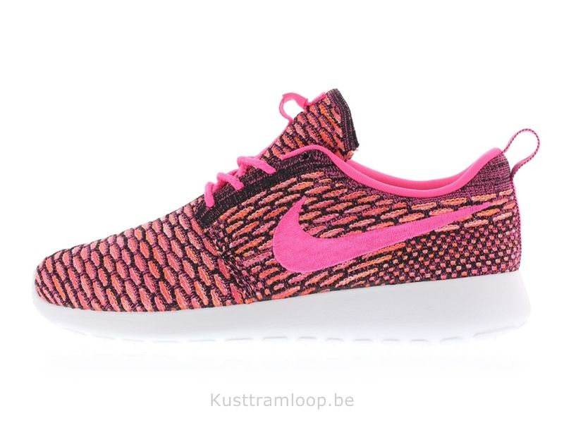 Nike Femme Flyknit Roshe Run Noir / Rose Pow-blanc-total d'Orange