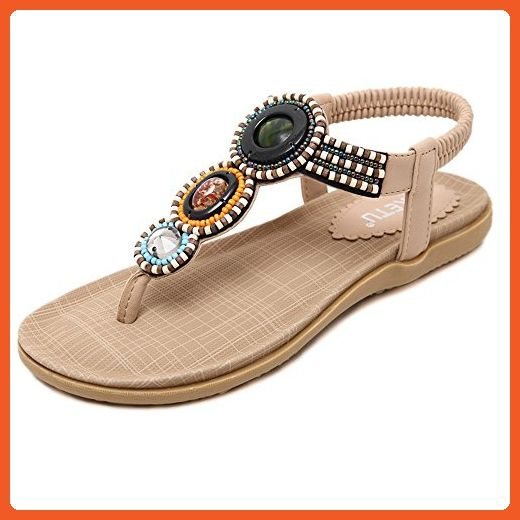 2e47004f3 ManYiS Women New Summer Bohemia Slippers Flip Flops Lady Flat Sandals Beach  Thong Shoes Apricot