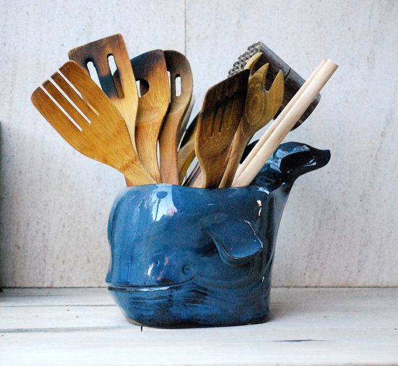 Ceramic utensil holder succulent planters whale lover Gifts for kitchen lovers