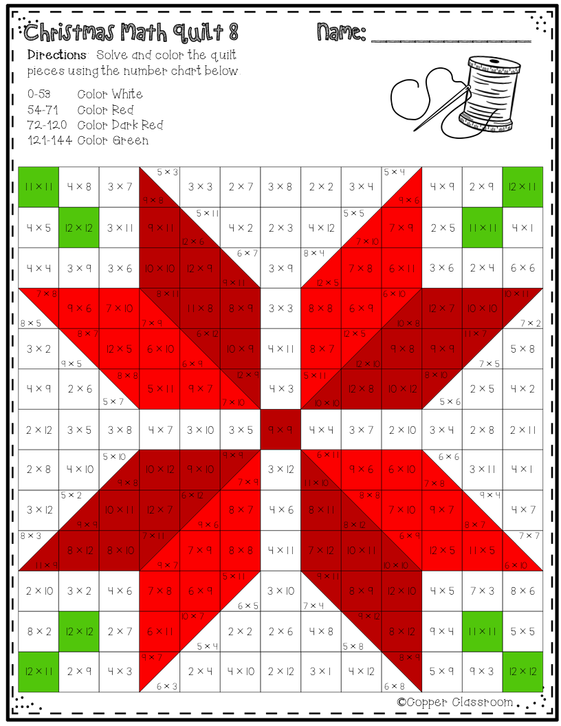 Christmas Math Quilts Color By Code For Multiplication Facts Up To 12 X 12 Barn Quilt Designs Quilts Quilt Block Patterns [ 1056 x 816 Pixel ]