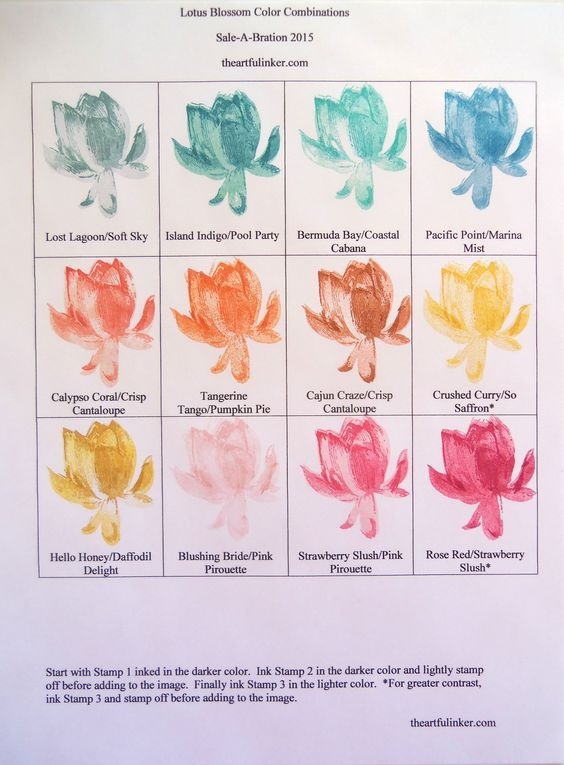 Lotus Blossom Color Combinations Tutorials For Cards Lotus