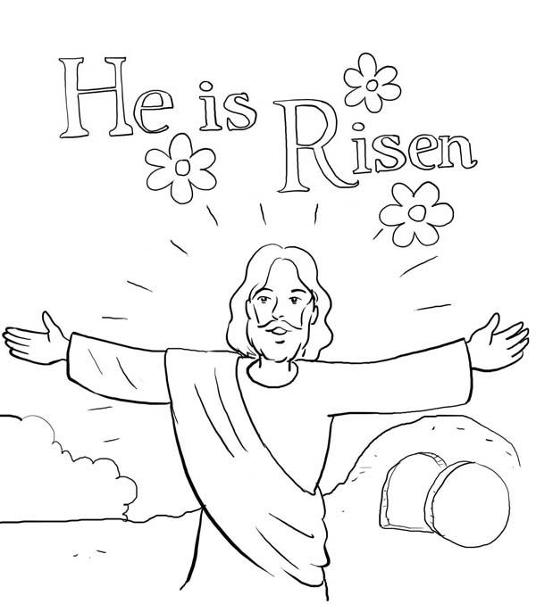Jesus Is Risen Coloring Pages Jesus Coloring Pages Easter Sunday School Sunday School Coloring Pages