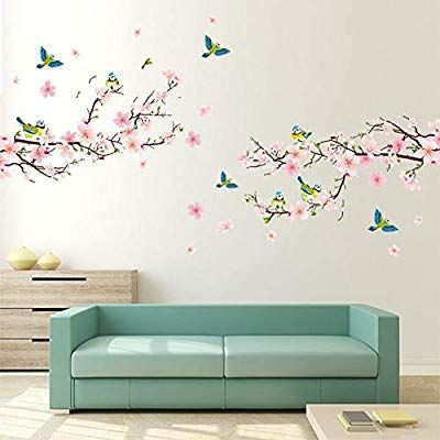 Alicemall Pink Blossom Flower Tree Birds Wall Stickers