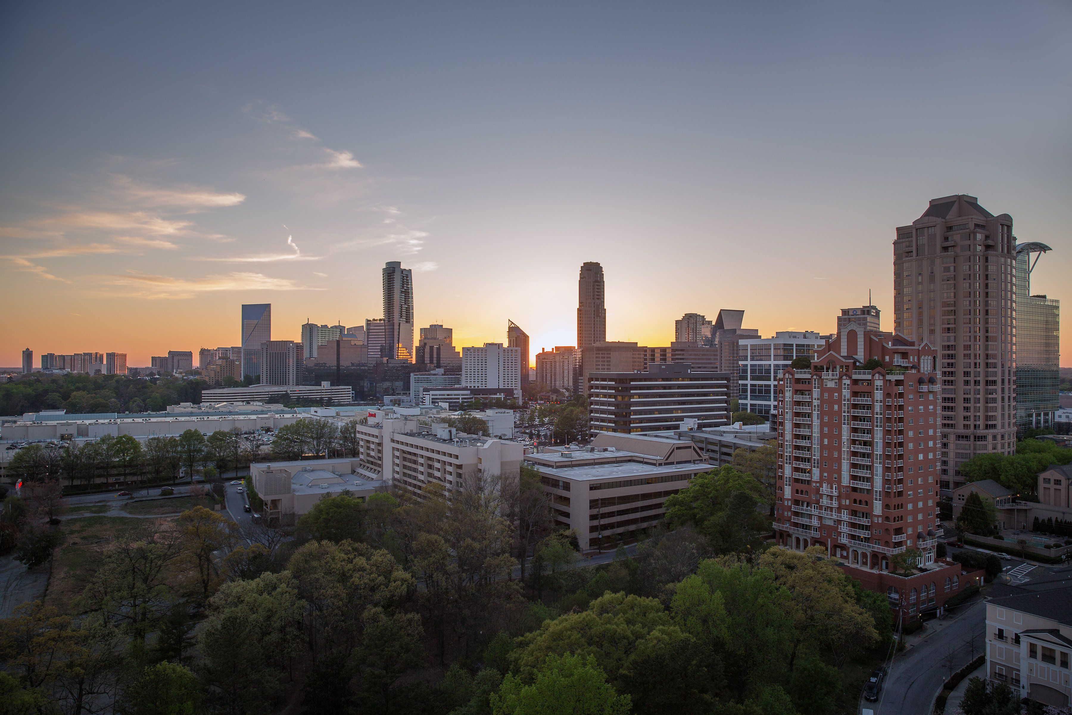 The sunsets against the Buckhead skyline are a sight to behold.