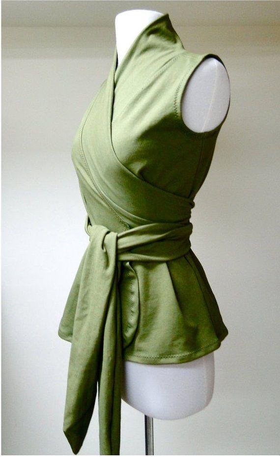 Organic Wrap Shirt Sleeveless Shawl Tunic Top Wraparound