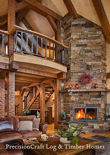 Great Room Of A Custom Timber Frame Home Timber House Log Homes