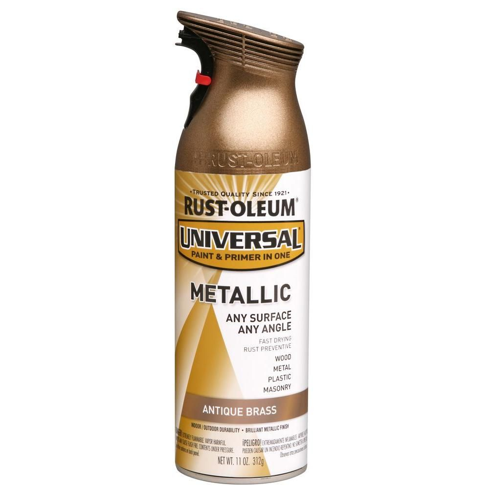 Rust Oleum Universal 11 Oz All Surface Metallic Antique Brass Spray Paint And Primer In One