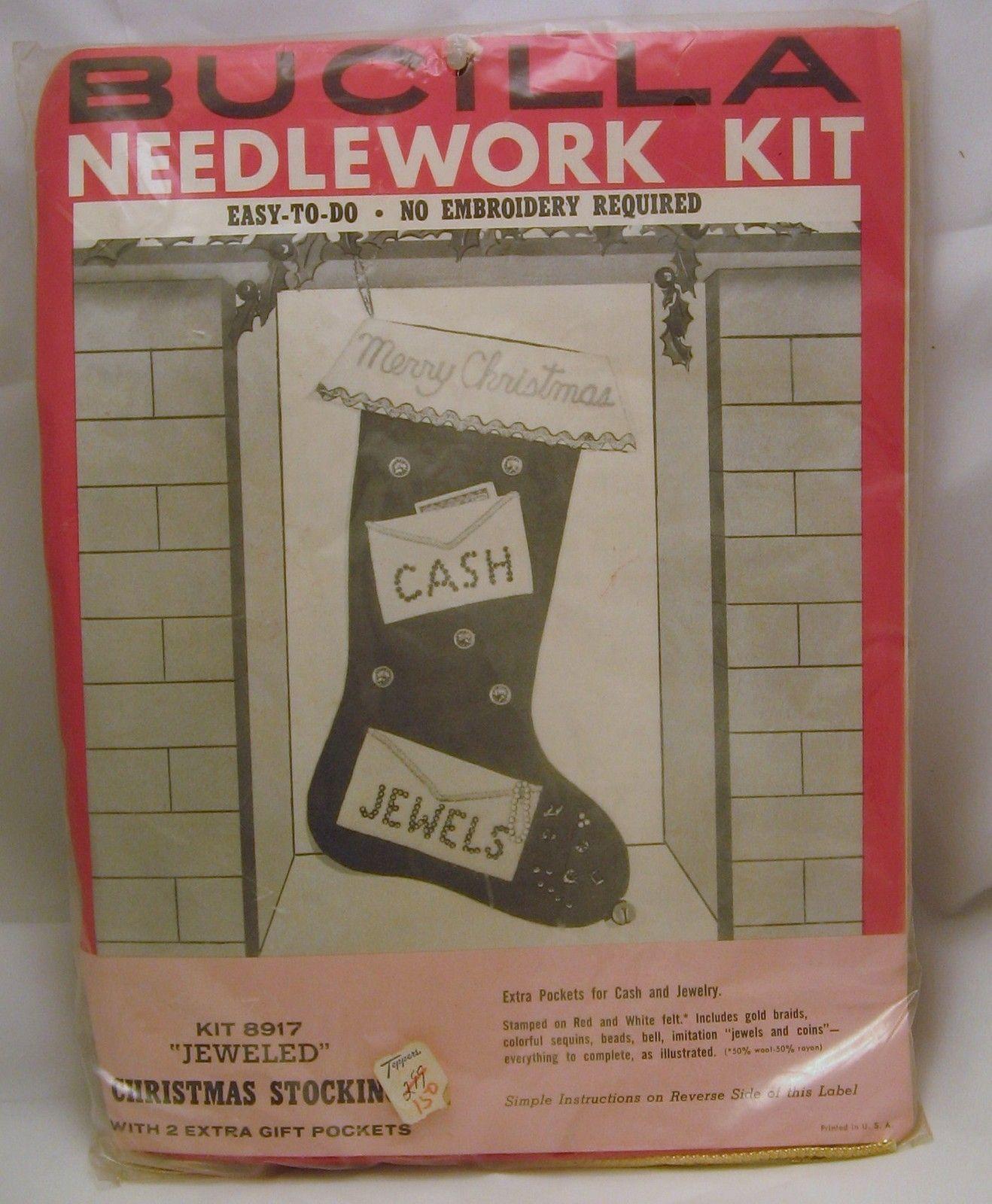 1950s Bucilla Needlework Kit Cash Jewels Christmas Stocking