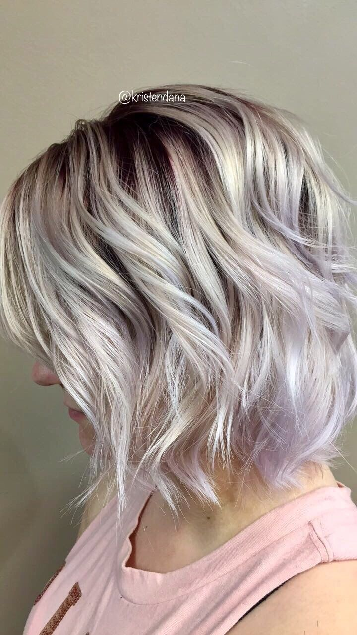 Dark Berry Shadow Root And Icy Violet Blonde Blonde Hair With Roots Shadow Roots Hair Icy Blonde Hair