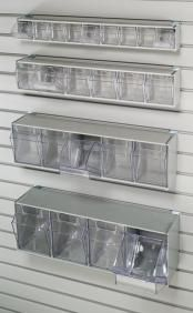 Slatwall tilt bins for storing nuts, bolts, screws or anything small.