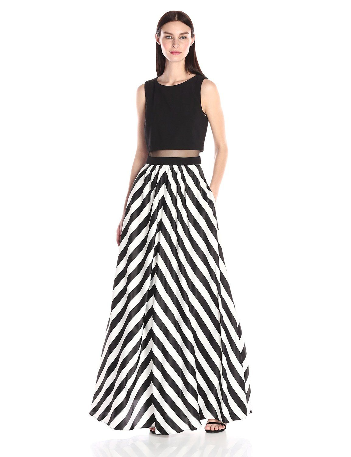 Betsy Adam Women S Mock 2pc Stripe Gown At Clothing