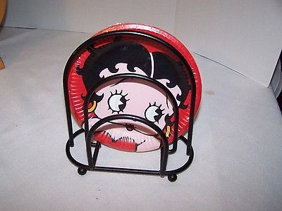 Betty Boop 7\  Paper Snack/Cake Plate Caddy Holder Napkin Holder & Betty Boop 7\