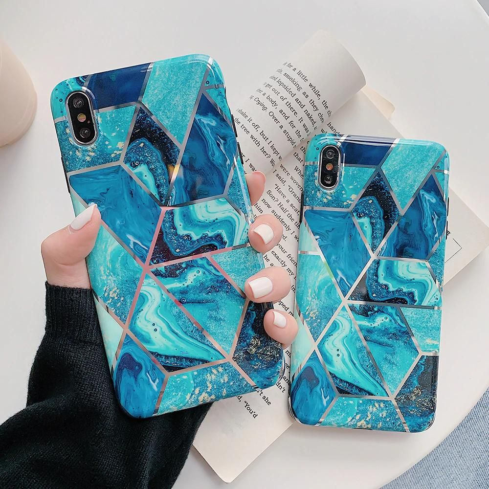Geometric marble design phone cases for iphone xr xs max 6