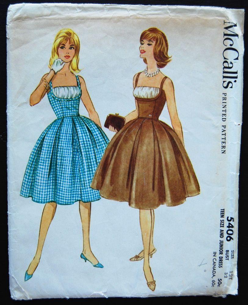 Vintage Original Mccall S 60 S Dinner Afternoon Dress Pattern No 5406 Rockabilly Dress Pattern Vintage Dress Patterns Rockabilly Dress