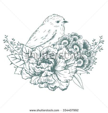 Bird And Flowers Drawing - Google Search | Art | Pinterest | Bird Tattoo And Columbine Tattoo