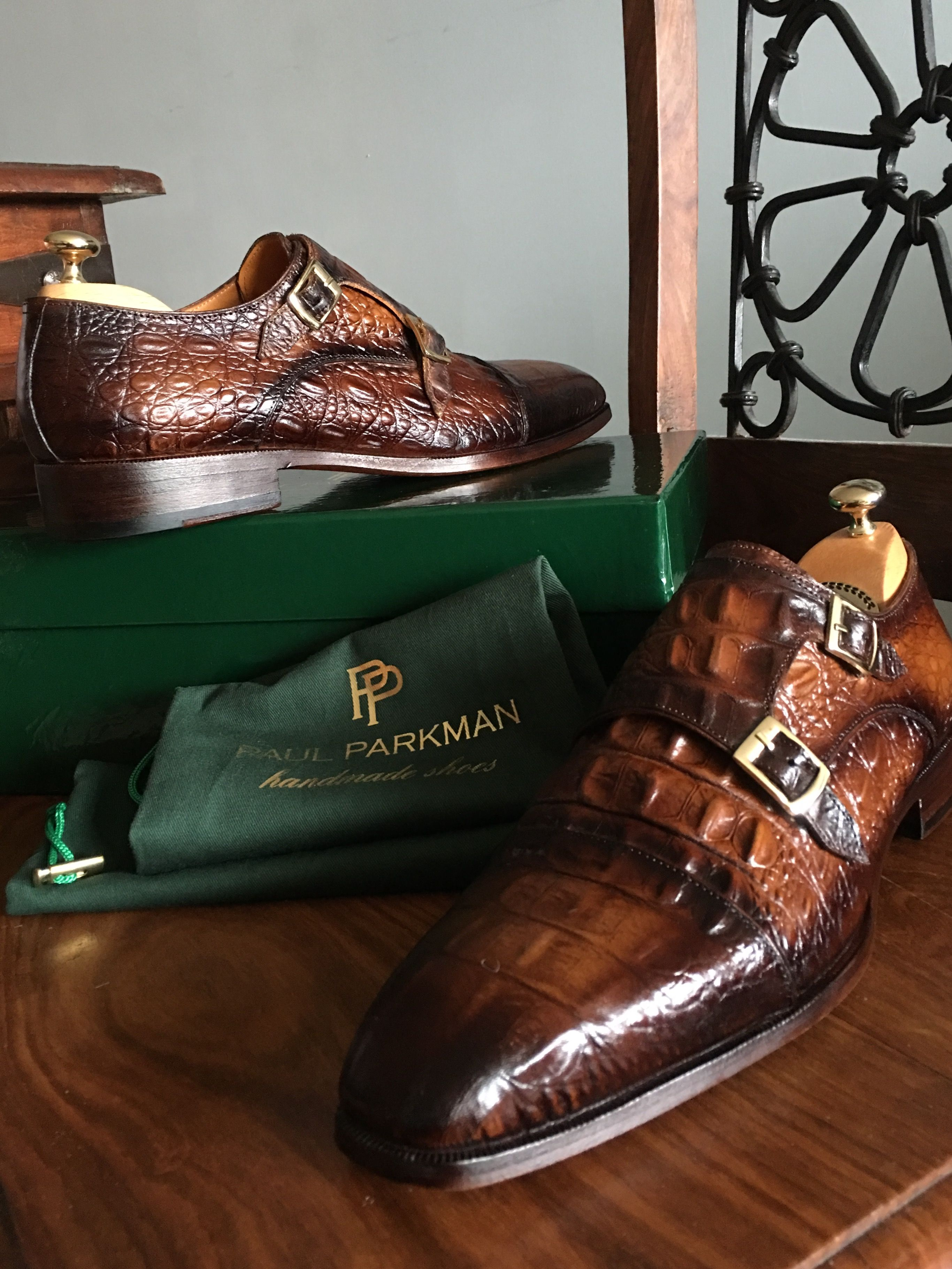 61e6786764ea3 Paul Parkman Men's Brown Crocodile Embossed Calfskin Double ...