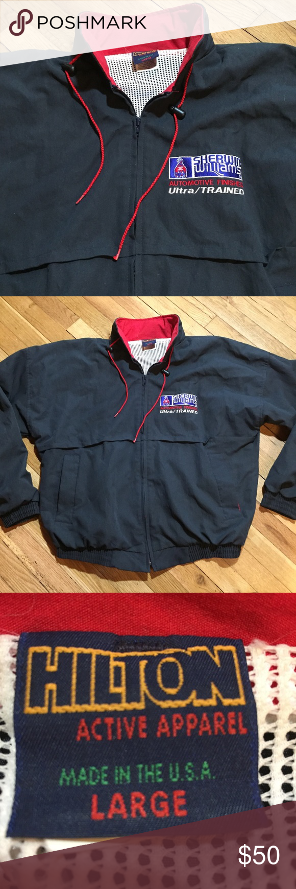Vintage Sherwin Williams Paint Jacket Windbreaker Gently Preowned With Stitched Logo At Left Chest Vintage Made In Usa Fu Painted Jacket Vintage Jacket Jackets