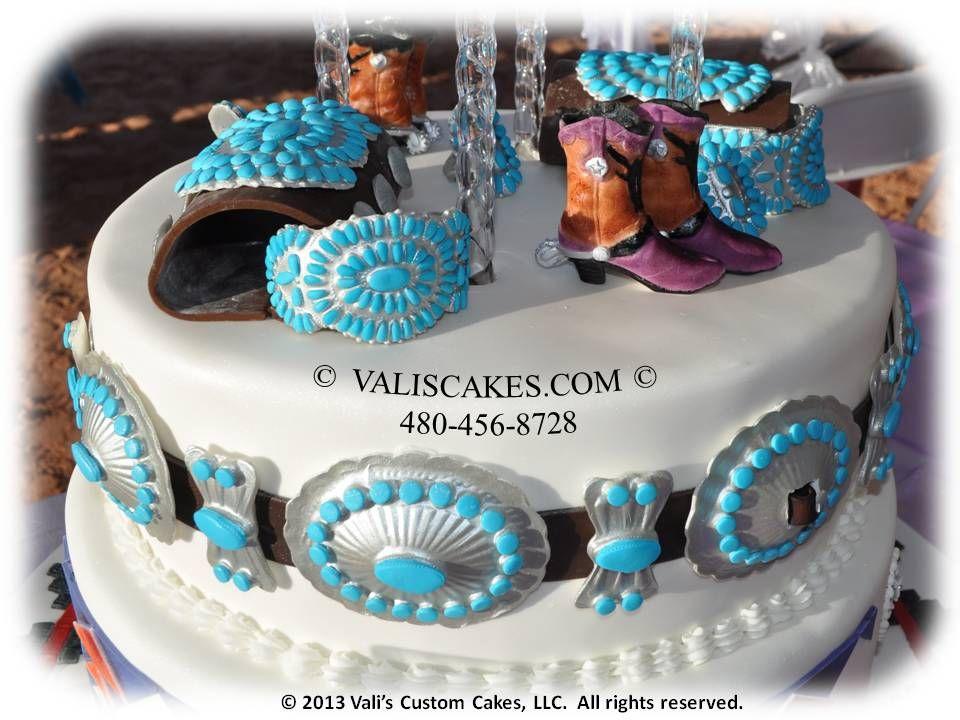 Edible Navajo jewelry on wedding cake.