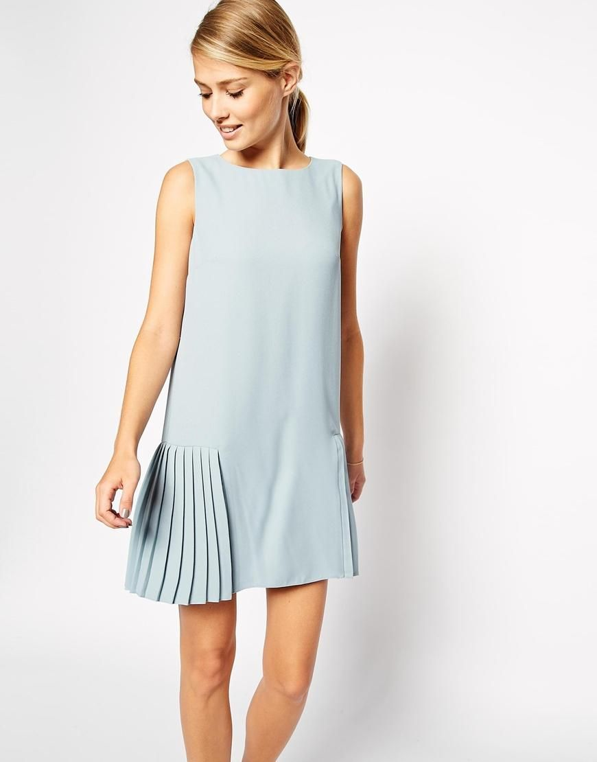ASOS | ASOS Shift Dress with Drop Waist and Pleated Skirt at ASOS ...