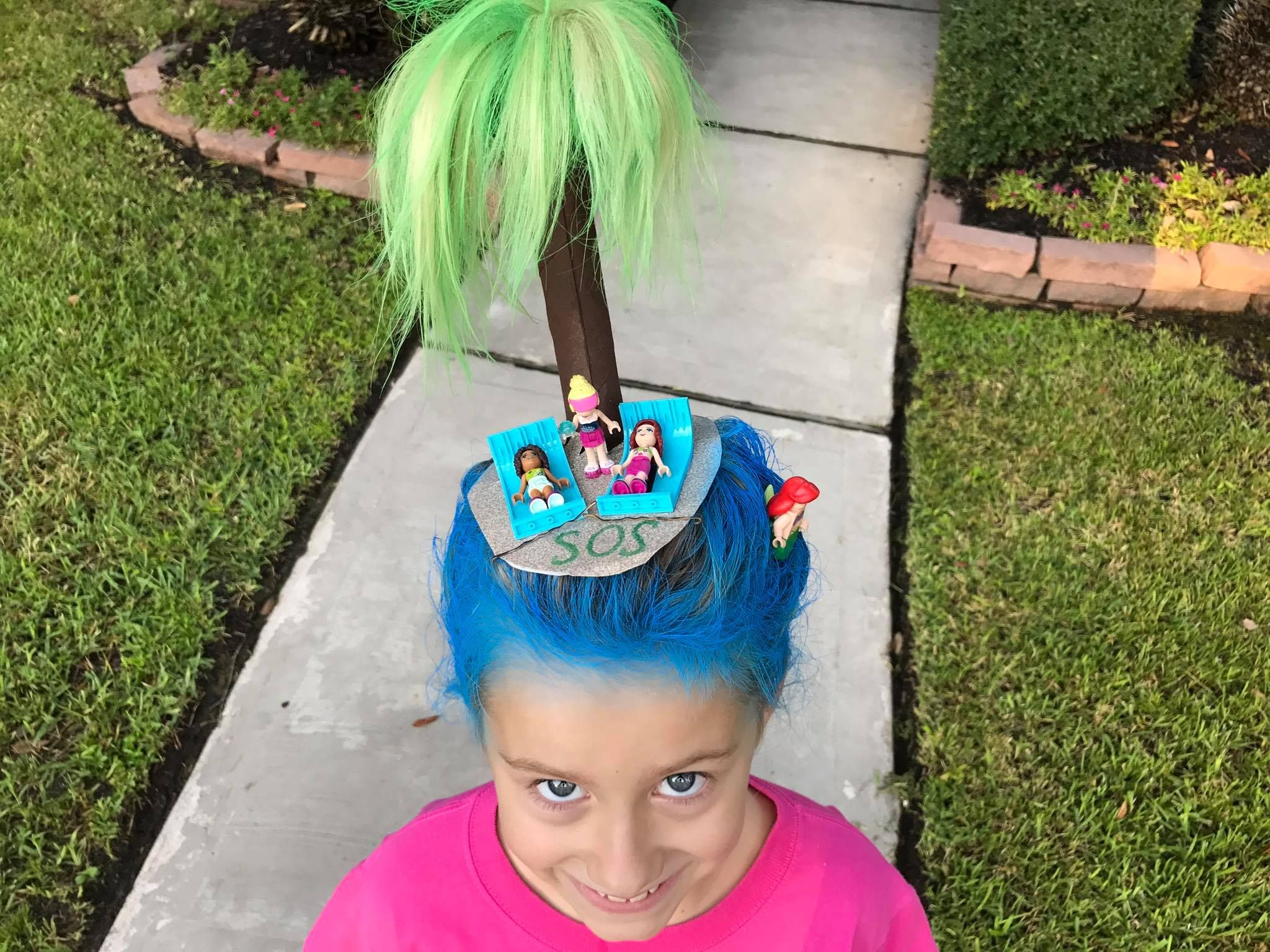 crazy hair day: deserted island with lego friends | sprit