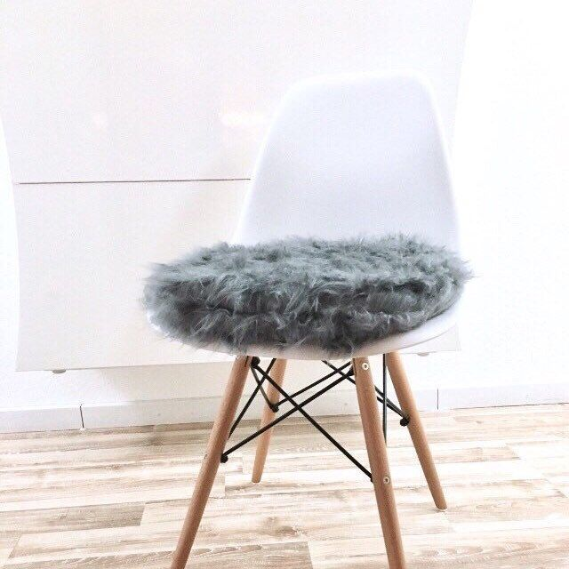graues Sitzkissen für Eames Chair - Kunstfell - Fellstoff ...