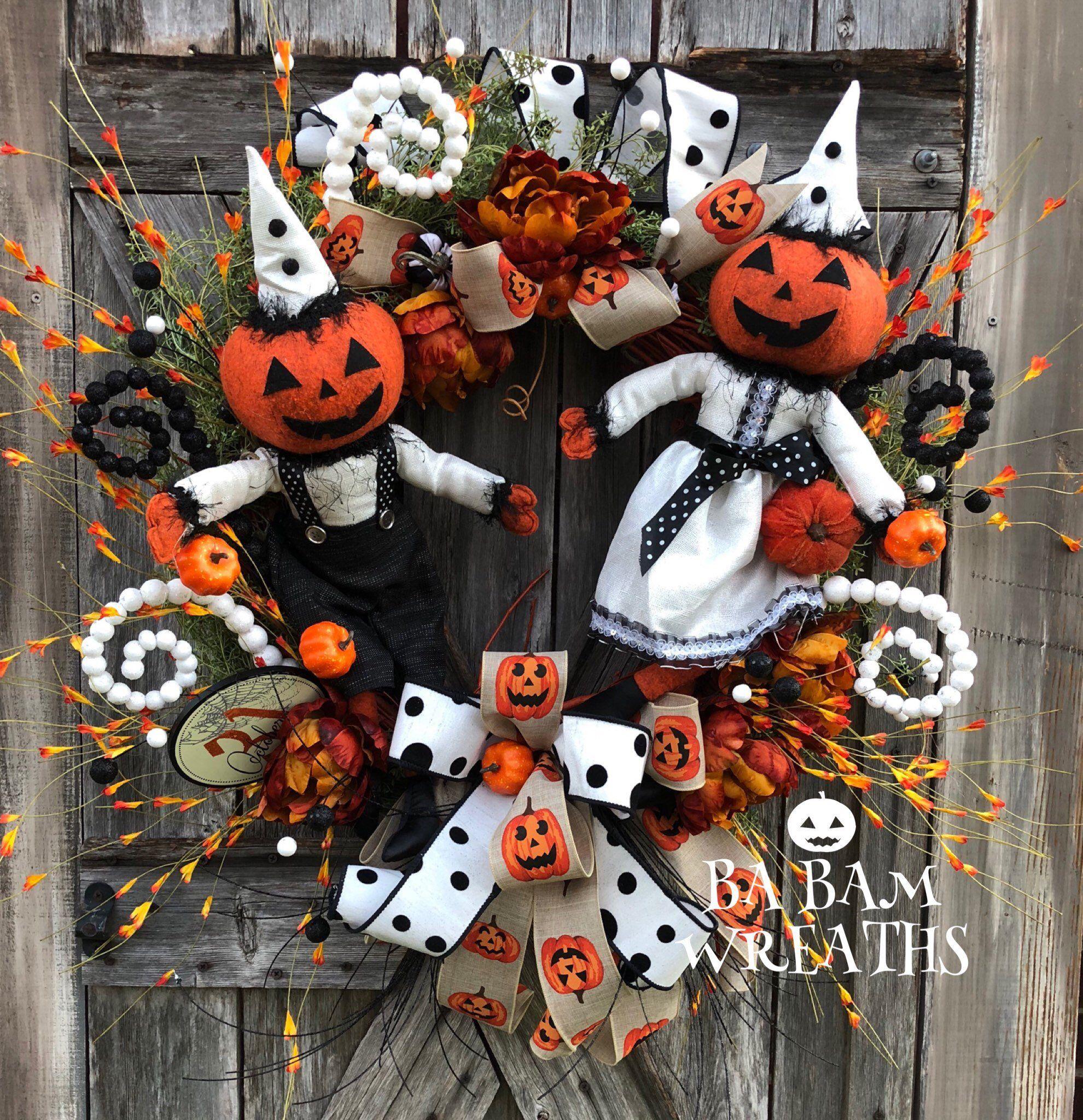 fall outdoor wreath Happy halloween Halloween door wreath front door decor Unique Halloween halloween decoration trick or treat decor