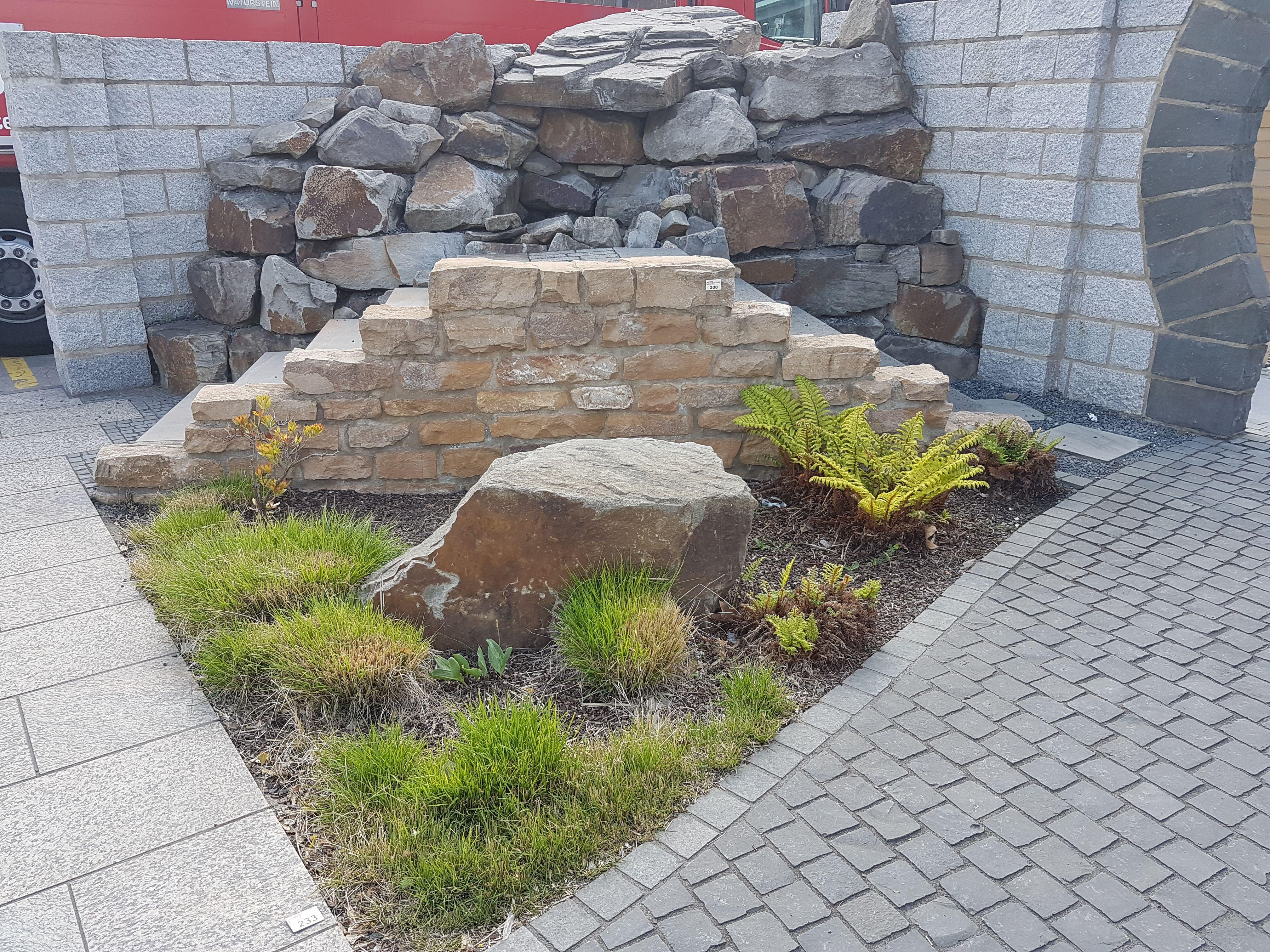 Kalksandsteintrockenmauer, Garten Gartenausstellung, Bau