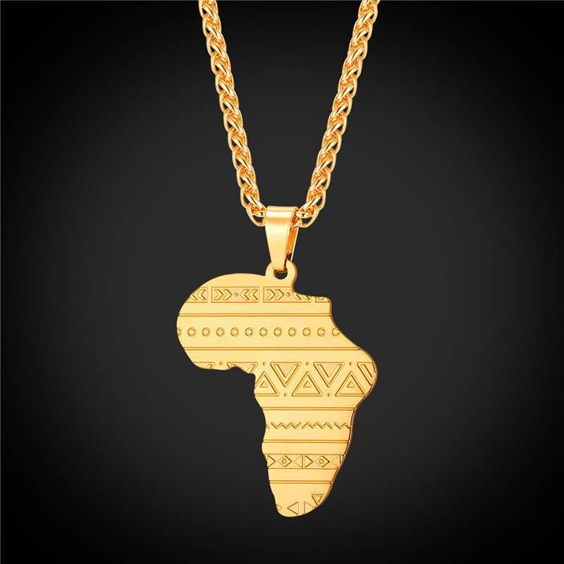 Gold Rose Gold Silver Map of Africa Pattern Pendant Necklace Hip