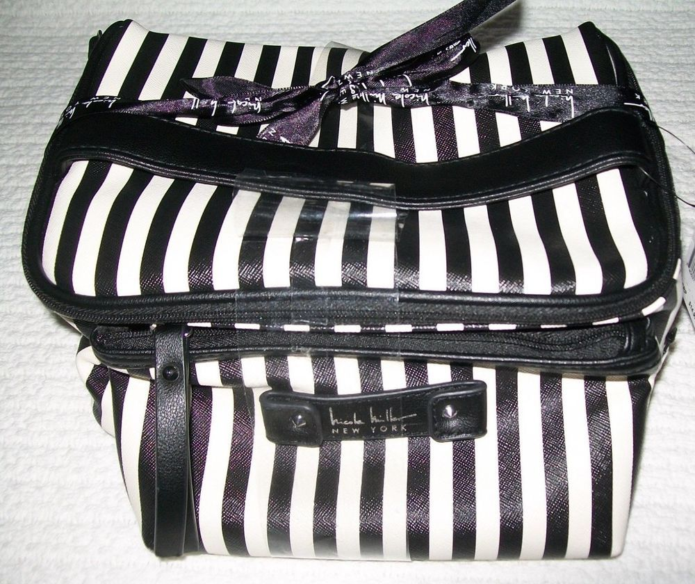 Nicole Miller New York Black White Stripe Makeup Luggage