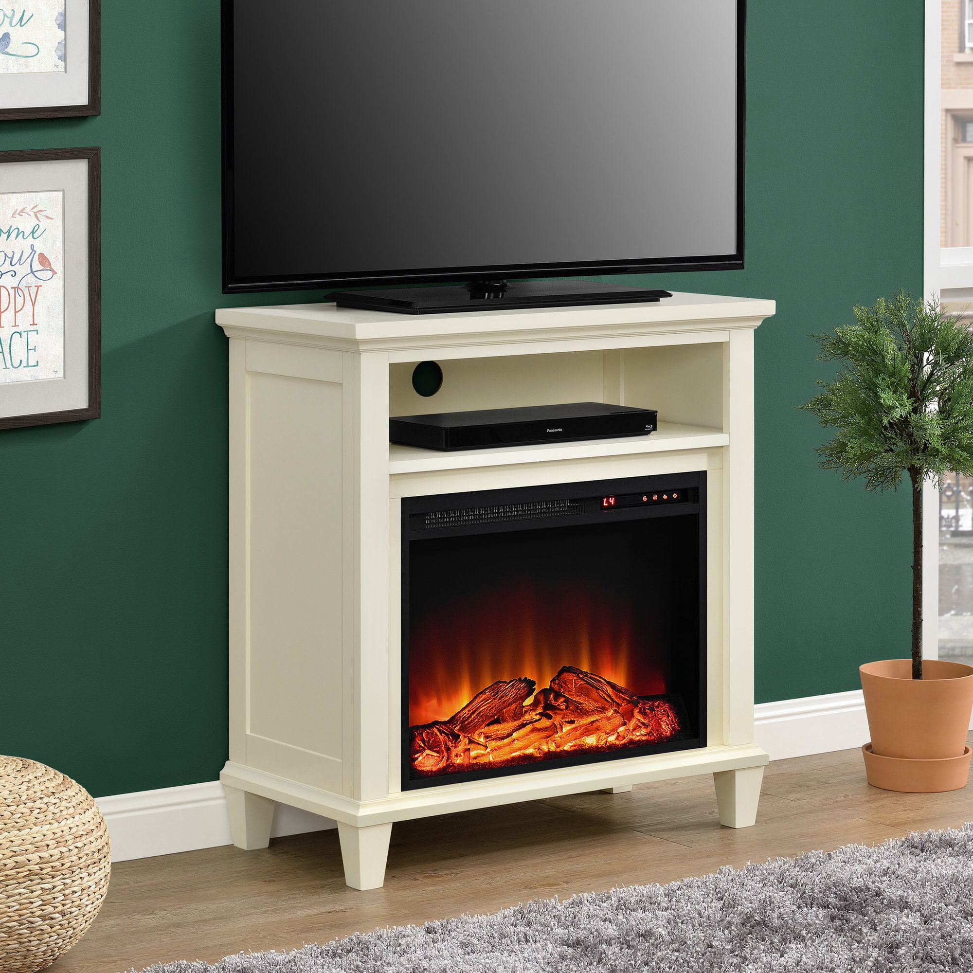 joseph media console with electric fireplace products pinterest
