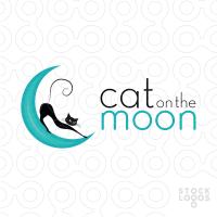Cat on the Moon 200x200 44 Diseños de logos con ilustraciones de la luna