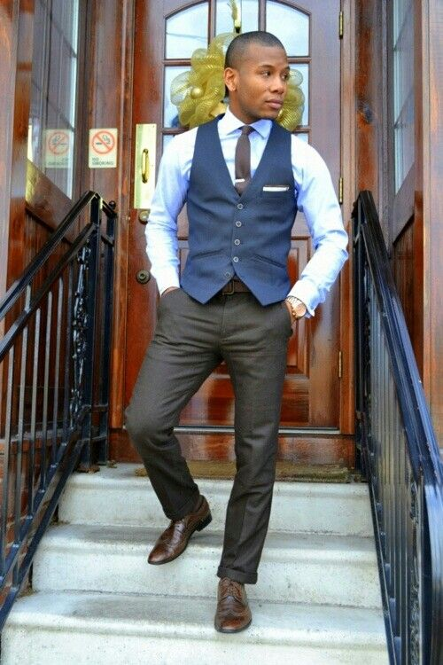 Men\'s Blue Waistcoat, White Dress Shirt, Charcoal Dress Pants, Dark ...